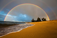 A double rainbow at Waialua beach, North Shore, Oahu