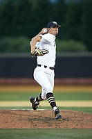 Wake Forest Demon Deacons relief pitcher Carter Bach (18) in action against the Davidson Wildcats at David F. Couch Ballpark on May 7, 2019 in  Winston-Salem, North Carolina. The Demon Deacons defeated the Wildcats 11-8. (Brian Westerholt/Four Seam Images)