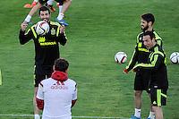 Spanish National Team's  training at Ciudad del Futbol stadium in Las Rozas, Madrid, Spain. In the pic: Raul Albiol, Iker Casillas, Isco and Santi Cazorla. March 25, 2015. (ALTERPHOTOS/Luis Fernandez) /NORTEphoto.com