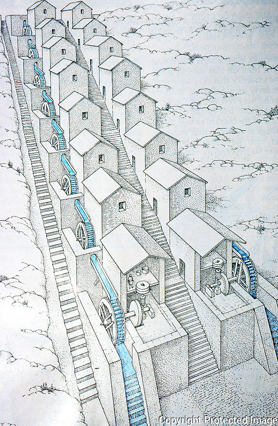 Roman Technology:  Grist Mills at Barbegal, near Arles, built along an aqueduct route.  A. Trevor Hodge, Sci. Am., Nov. '90.