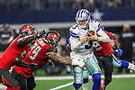 Dallas Cowboys quarterback Mike White (3) in action during the pre-season game between the Tampa Bay Buccaneers and the Dallas Cowboys at the AT & T Stadium in Arlington, Texas.