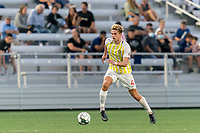 HARTFORD, CT - AUGUST 17: Erik McCue #4 of Charleston Battery brings the ball forward during a game between Charleston Battery and Hartford Athletic at Dillon Stadium on August 17, 2021 in Hartford, Connecticut.