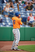 St. Lucie Mets first baseman Jeremy Vasquez (16) on deck during a game against the Clearwater Threshers on August 11, 2018 at Spectrum Field in Clearwater, Florida.  St. Lucie defeated Clearwater 11-0.  (Mike Janes/Four Seam Images)