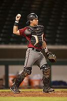 AZL Diamondbacks catcher Luvin Valbuena (2) during an Arizona League game against the AZL Cubs 1 at Sloan Park on June 18, 2018 in Mesa, Arizona. AZL Diamondbacks defeated AZL Cubs 1 7-0. (Zachary Lucy/Four Seam Images)