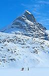 Ski sur la glace du fjord Ikasgtivaq. Groënland (côte Est). Région d'Angmagssalik (Ammasalik ou Tassilaq). Ski on the ice of the fjord Ikasgtivaq. Greenland (East coast).