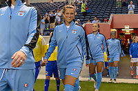 Chicago, IL - Wednesday Sept. 07, 2016: Stephanie McCaffrey prior to a regular season National Women's Soccer League (NWSL) match between the Chicago Red Stars and FC Kansas City at Toyota Park.