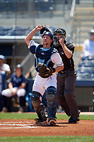 Charlotte Stone Crabs catcher Zacrey Law (6) and umpire Brandon Blome during a Florida State League game against the Dunedin Blue Jays on April 17, 2019 at Charlotte Sports Park in Port Charlotte, Florida.  Charlotte defeated Dunedin 4-3.  (Mike Janes/Four Seam Images)