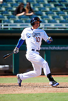 Mesa Solar Sox outfielder Joc Pederson #10, of the Los Angeles Dodgers organization, during an Arizona Fall League game against the Peoria Javelinas at HoHoKam Park on October 15, 2012 in Mesa, Arizona.  Peoria defeated Mesa 9-2.  (Mike Janes/Four Seam Images)