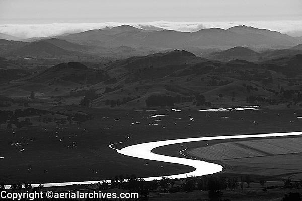 aerial photograph Petaluma River Marin County, California