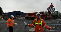 2019 01 21 Crane used to buy McDonalds take-away, Carmarthen, Wales, UK