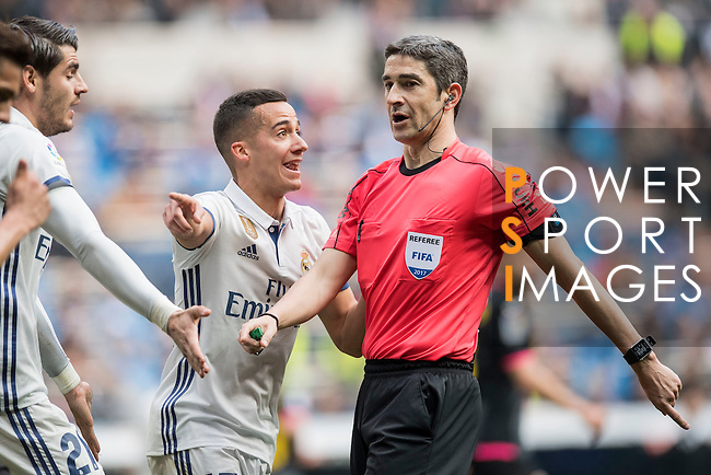 Lucas Vazquez of Real Madrid  argues with the referee during the match Real Madrid vs RCD Espanyol, a La Liga match at the Santiago Bernabeu Stadium on 18 February 2017 in Madrid, Spain. Photo by Diego Gonzalez Souto / Power Sport Images