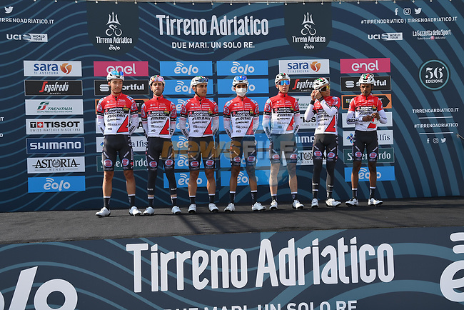 Androni Giocattoli-Sidermec at sign on before the start of Stage 1 of Tirreno-Adriatico Eolo 2021, running 156km from Lido di Camaiore to Lido di Camaiore, Italy. 10th March 2021. <br /> Photo: LaPresse/Gian Mattia D'Alberto | Cyclefile<br /> <br /> All photos usage must carry mandatory copyright credit (© Cyclefile | LaPresse/Gian Mattia D'Alberto)
