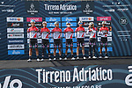 Androni Giocattoli-Sidermec at sign on before the start of Stage 1 of Tirreno-Adriatico Eolo 2021, running 156km from Lido di Camaiore to Lido di Camaiore, Italy. 10th March 2021. <br /> Photo: LaPresse/Gian Mattia D'Alberto   Cyclefile<br /> <br /> All photos usage must carry mandatory copyright credit (© Cyclefile   LaPresse/Gian Mattia D'Alberto)