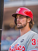 23 May 2015: Philadelphia Phillies starting pitcher Cole Hamels steps up to bat during a game against the Washington Nationals at Nationals Park in Washington, DC. Hamels notched his 5th win of the season as the Phillies defeated the Nationals 8-1 in the second game of their 3-game weekend series. Mandatory Credit: Ed Wolfstein Photo *** RAW (NEF) Image File Available ***