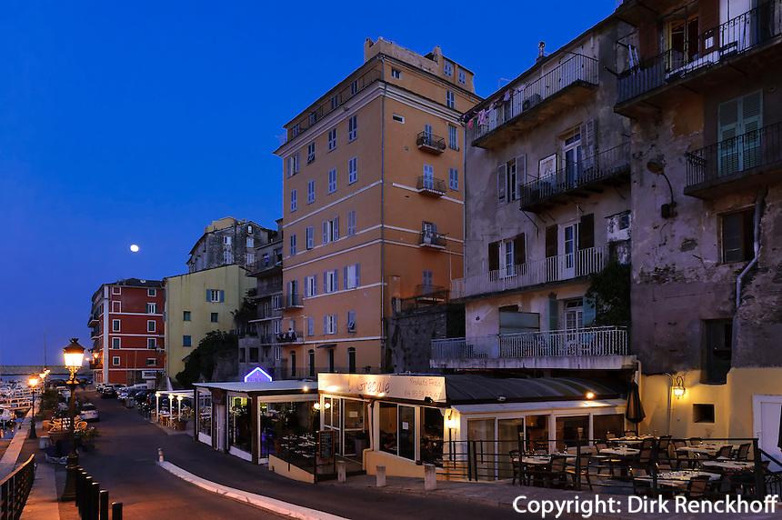 Restaurant am Jachthafen in Bastia, Korsika, Frankreich