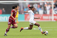 Houston, TX - Sunday April 08, 2018: Stephany Mayor, Crystall Dunn during an International Friendly soccer match between the USWNT and Mexico at BBVA Compass Stadium.
