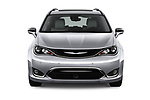 Car photography straight front view of a 2017 Chrysler Pacifica-Hybrid Platinum 5 Door Minivan Front View