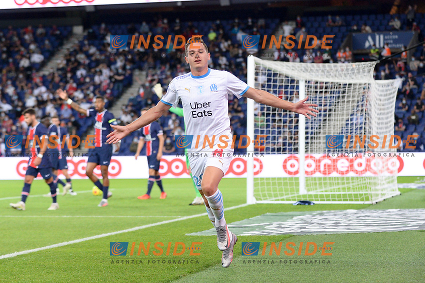 jOIE - 26 FLORIAN THAUVIN (OM)<br /> 12/02/2014<br /> Paris Saint Germain PSG vs Olympique Marseille OM <br /> Calcio Ligue 1 2020/2021  <br /> Foto Philippe Lecoeur Panoramic/insidefoto <br /> ITALY ONLY