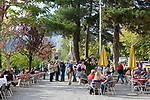 Italien, Suedtirol, Meran, Cafe an der Passerpromenade in der Altstadt | Italy, South-Tyrol, Alto Adige, Merano: Old Town, Passer Promenade, Cafe