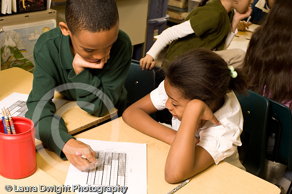 Education Elementary school Grade 4 science special boy and girl working together on bar graph horizontal