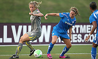 Philadelphia defender, Allison Falk (3) and Boston forward, Lauren Cheney (8), battle for the ball.  Philadelphia took an early lead, but Boston stormed back with two goals to capture the win, 2-1, at Farrell Stadium in West Chester, PA.