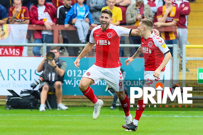 Ched Evans of Fleetwood Town celebrates scoring during the Sky Bet League 1 match between Fleetwood Town and Bradford City at Highbury Stadium, Fleetwood, England on 1 September 2018. Photo by Thomas Gadd.