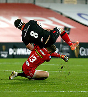 Sunday 22nd November 2020 | Ulster vs Scarlets<br /> <br /> Marcell Coetzee is tackled by Steff Hughes during the Guinness PRO14 Round 7 clash between Ulster Rugby and Scarlets at Kingspan Stadium, Ravenhill Park, Belfast, Northern Ireland. Photo by John Dickson / Dicksondigital