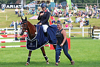 5th September 2021; Bicton Park, East Budleigh Salterton, Budleigh Salterton, United Kingdom: Bicton CCI 5* Equestrian Event; Gemma Tattersall riding Chilli Knight takes in her win this weekend