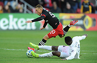 WASHINGTON, DC - MARCH 07: Erick Sorga #50 of D.C. United battles the ball with Andres Reyes #3 of Inter Miami CF during a game between Inter Miami CF and D.C. United at Audi Field on March 07, 2020 in Washington, DC.