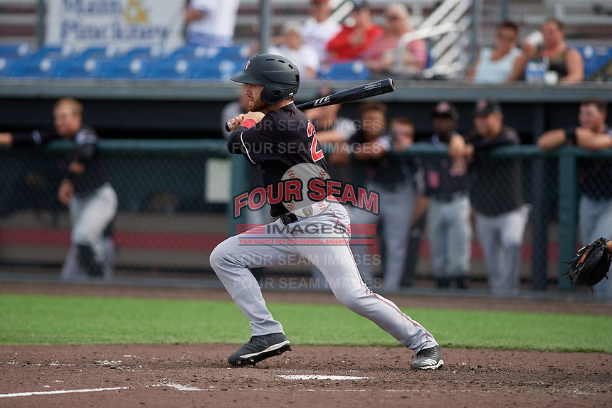 Batavia Muckdogs J.D. Orr (22) bats during a NY-Penn League game against the Auburn Doubledays on September 2, 2019 at Falcon Park in Auburn, New York.  Batavia defeated Auburn 7-0 to clinch the Pinckney Division Title.  (Mike Janes/Four Seam Images)