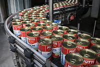 ITALY, Parma, Basilicanova, tomato canning company Mutti s.p.a., founded 1899, fresh plum tomatoes are conserved as canned tomato, pulpo, passata and tomato concentrate / ITALIEN, Parma, Basilicanova, Tomatenkonservenfabrik Firma Mutti spa, die frisch geernteten Flaschentomaten werden zu Dosentomaten, Passata und Tomatenmark verarbeitet und konserviert, alles 100 Prozent Italien, Dosenabfüllanlage