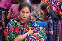 Chichicastenango, Guatemala.  Quiche (Kiche, K'iche') Woman in the Market.