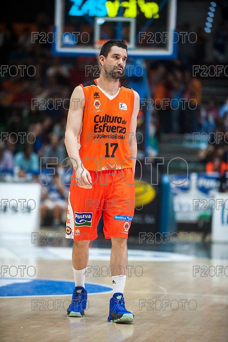 VALENCIA, SPAIN - OCTOBER 31: Rafa Martinez during ENDESA LEAGUE match between Valencia Basket Club and Rio Natura Monbus Obradoiro at Fonteta Stadium on   October 31, 2015 in Valencia, Spain