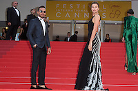 Lewis Hamilton, Irina Shayk - CANNES 2016 - MONTEE DES MARCHES DU FILM 'LA FILLE INCONNUE'
