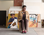"""April 8, 2011. Durham, NC..Painter Beverly McIver in her studio. """"Raising Renee"""", a film about McIver and her sister Renee, will premiere at the Full Frame Documentary Film Festival on April 15th."""