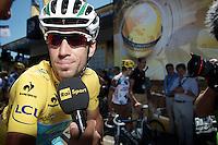 Vincenzo Nibali (ITA/Astana) interviewed at the start<br /> <br /> 2014 Tour de France<br /> stage 12: Bourg-en-Bresse - Saint-Etiènne (185km)