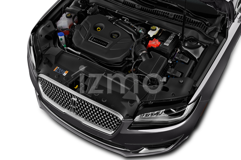 Car Stock 2020 Lincoln MKZ Standard 4 Door Sedan Engine  high angle detail view