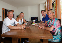 23-06-10, Tennis, England, Wimbledon, Caroline Wozniacki photoshoot, The family together in their Wimbledon house, ltr: father Piotr, Caroline, brother Patrik and mother Anna