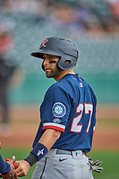 José Godoy (27) of the Tacoma Rainiers at first base against the Salt Lake Bees at Smith's Ballpark on May 16, 2021 in Salt Lake City, Utah. The Bees defeated the Rainiers 8-7. (Stephen Smith/Four Seam Images)