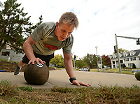 Nick Muenzler of Little Rock, a senior at the University of Arkansas in the Army Reserve Officer Training Corps program, works out Thursday, Oct. 15, 2020, at the Army ROTC Building on the university campus in Fayetteville. Muenzler was exercising under the Combat Strength Training program which improves strength and agility. Visit nwaonline.com/201016Daily/ for today's photo gallery. <br /> (NWA Democrat-Gazette/Andy Shupe)
