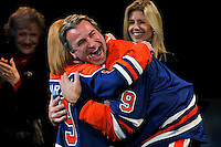 EDMONTON, CANADA - January 18:  Glenn Anderson hugs a cancer survivor that he helped during his years as an Edmonton Oiler during the jersey retirement ceremony of his #9 before a game against the Phoenix Coyotes at Rexall Place on January 18, 2009 in Edmonton, Alberta, Canada.  (Photo by Andy Devlin/NHLI via Getty Images) *** Local Caption *** Glenn Anderson