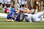 Southern Methodist Mustangs punter Jackson Koonce (35) in action during the game between the TCU Horned Frogs and the SMU Mustangs at the Gerald J. Ford Stadium in Fort Worth, Texas.  TCU leads SMU 28 to 0 at half.