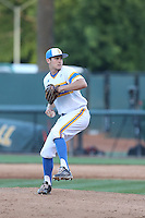 Grant Dyer (32) of the UCLA Bruins pitches during a game against the Oregon State Beavers at Jackie Robinson Stadium on April 4, 2015 in Los Angeles, California. UCLA defeated Oregon State, 10-5. (Larry Goren/Four Seam Images)