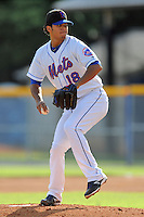 Kingsport Mets starting pitcher Carlos Gomez #18 delivers a pitch during a game against the Elizabethton Twins at Hunter Wright Stadium on June 29, 2013 in Kingsport, Tennessee. The Mets won the game 5-4. (Tony Farlow/Four Seam Images)