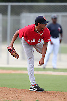 Boston Red Sox pitcher Miguel Pena #46 during an Instructional League game against the Minnesota Twins at Red Sox Minor League Training Complex in Fort Myers, Florida;  October 3, 2011.  (Mike Janes/Four Seam Images)