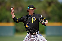Pittsburgh Pirates Shea Murray (10) during a minor league Spring Training game against the Philadelphia Phillies on March 13, 2019 at Pirate City in Bradenton, Florida.  (Mike Janes/Four Seam Images)