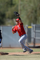 Los Angeles Angels second baseman Angel Rosa (8) in a run down during an Instructional League game against the Milwaukee Brewers on October 11, 2013 at Tempe Diablo Stadium Complex in Tempe, Arizona.  (Mike Janes/Four Seam Images)