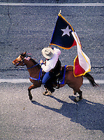 Horse & rider, with Texas flag. Houston Texas.