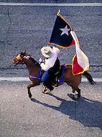 Horse & rider, with Texas flag. Houston Texas.