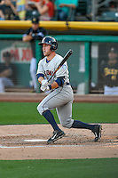 Patrick Kivlehan (27) of the Tacoma Rainiers at bat against the Salt Lake Bees in Pacific Coast League action at Smith's Ballpark on July 23, 2016 in Salt Lake City, Utah. The Rainiers defeated the Bees 4-1. (Stephen Smith/Four Seam Images)